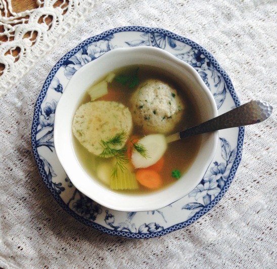 caramelized-onion-and-herb-matzoh-ball-soup-with-vegetables-and-chicken-broth