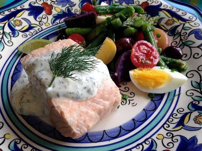 poached-salmon-nicoise-salad-with-mustard-herb-vinaigrette-and-dill-sauce