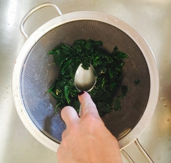 pressing-strained-spinach-and-arugula-through-sieve
